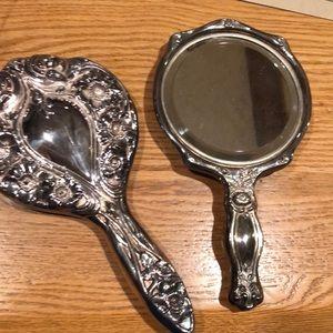 Vintage Sterling silver vanity mirrors